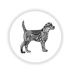 Black and white dog with hand-drawn pattern vector