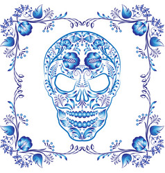 Blue patterned skull with flowers in a frame vector