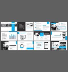 Blue presentation templates and infographics vector