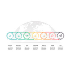 Business process timeline with 7 options circles vector