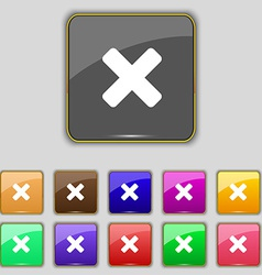 Cancel multiplication icon sign set with eleven vector