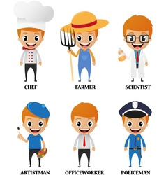 Cartoon characters with different profession vector image