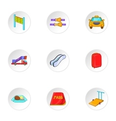 Check at airport icons set cartoon style vector