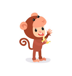 cheerful toddler in brown monkey jumpsuit with vector image