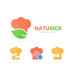 chef and leaf logo combination kitchen vector image vector image