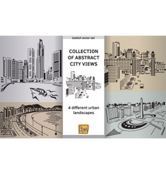 Collection abstract city views landscapes vector image