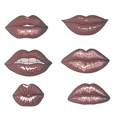 Collection Of Hand Drawn Lips vector image vector image