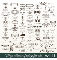 collection or set of vintage flourishes vector image vector image