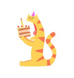 cute cartoon tiger biting piece of cake happy vector image vector image
