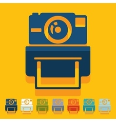 Flat design old photocamera vector