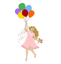 girl and baloons vector image