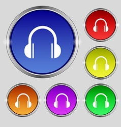 headphones icon sign Round symbol on bright vector image vector image