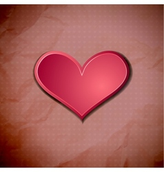 Heart on old crumpled card vector image vector image