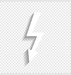 High voltage danger sign white icon with vector