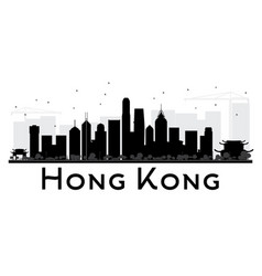 Hong kong city skyline black and white silhouette vector
