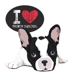 i love french bulldog vector image vector image