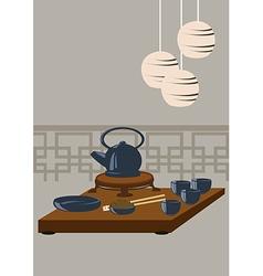Japanese tea set vector image