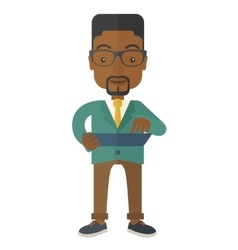 Mid adult male african engineer holding blueprint vector