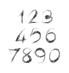 numbers 0-9 written with a brush on a white vector image vector image