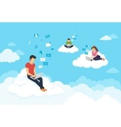 People sitting on the clouds in sky and using vector image