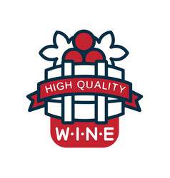 red and blue wine label high quality product logo vector image