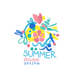 Summer logo original design summer season label vector