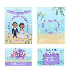Summer wedding invitation cars vector