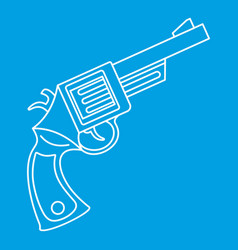 Vintage revolver icon outline style vector