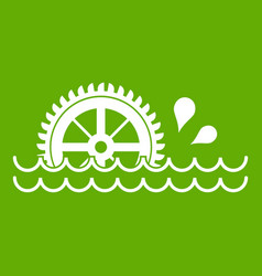 Waterwheel icon green vector