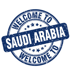 Welcome to saudi arabia blue round vintage stamp vector