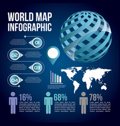 world map infographic chart population blue vector image