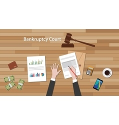 Bankcruptcy court concept with business man work vector