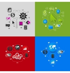 Set of sticker design high-tech business concept vector
