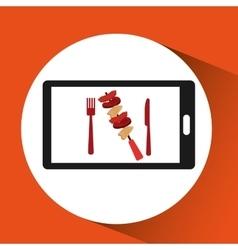 Smartphone order skewers food online vector