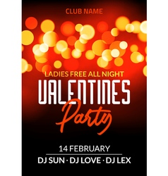 Valentine day party design card banner with bokeh vector