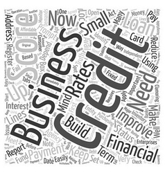 Build up your business credit word cloud concept vector