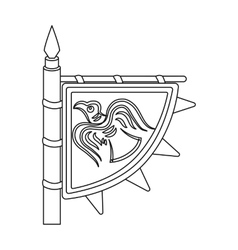 Viking s flag icon in outline style isolated on vector image