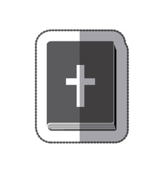 Middle shadow sticker grayscale with holy bible vector