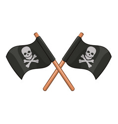 Crossed pirate flags icon cartoon style vector