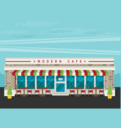 facade of cafe flat vector image