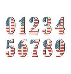 3d numbers with american flag texture isolated on vector