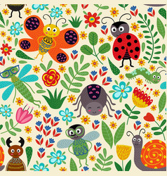seamless pattern with insect and plants vector image