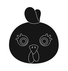 Hen muzzle icon in black style isolated on white vector