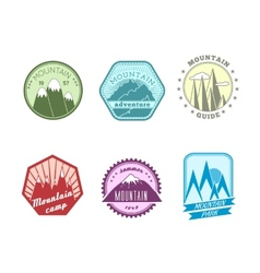 Snowy mountains labels collection vector