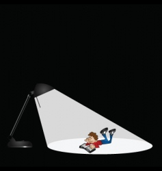 Lamp and boy reading vector