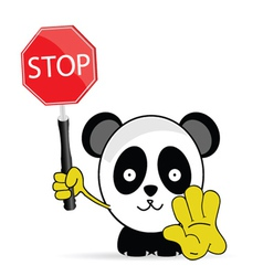 sweet and funny panda with sign stop vector image
