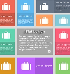 Suitcase icon sign set of multicolored buttons vector