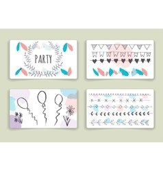 Hand drawn brush strokes card templates set vector