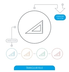 Triangular ruler icon straightedge sign vector