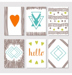Set of vintage cards with romantic hand drawn vector